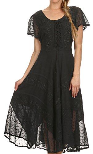 Kleid Zigeuner Schwarzer (Sakkas 1322 Marigold Fee Kleid - Schwarz -)