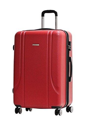Valise Grande Taille 75cm Alistair Smart - Abs Ultra Légère - 4 Roues Double Multidirectionnelles - Rouge