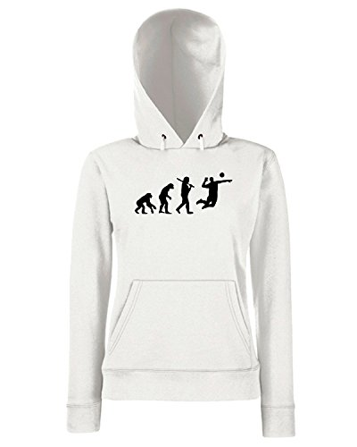 T-Shirtshock - Sweats a capuche Femme OLDENG00296 volleyball player evolution Blanc