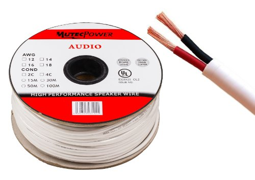 MutecPower -Speaker Wire 2 x 4mm² (12AWG) 50M CL2 Rated UL Listed Oxygen Free Copper (For In-Wall Installation) 50 Meter