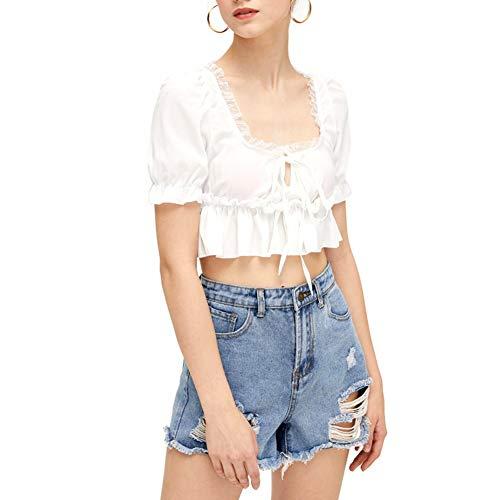 Frauen Chiffon Crop Top, Sommer Sexy Volant White Square Kragen mit kurzen Ärmeln T-Shirt Tee(S-Weiß) -