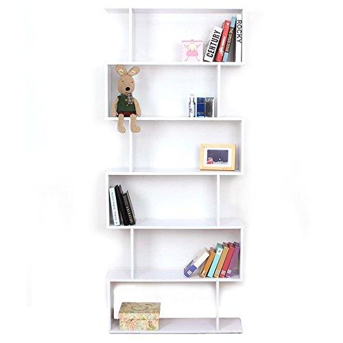 Warmiehomy libreria in legno, 6livelli, display da appoggio contemporaneo conservazione organizzatore per libri, giocattoli, cd/dvd scaffale, bianco