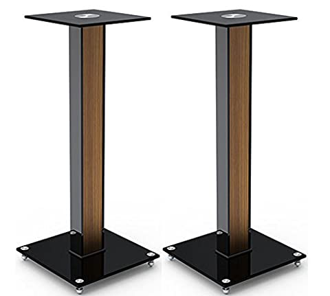 "AUDIO123 BS-03M Aluminum Glass and Wood Bookshelf Speaker Stand 23.6"" with floor spikes set of 2"