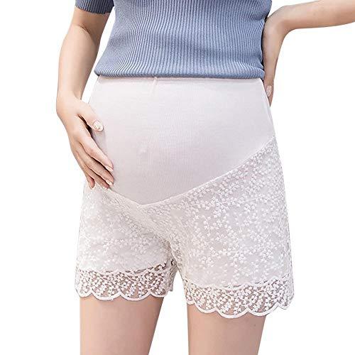 Doublehero Umstandshosen Mutterschaft Sommer Kurze Hose Umstandsshorts Maternity Casual Spitze Shorts Umstandsmode Damen Hoch Taille Mode Freizeithose Unterhosen Schwangerschaftshose (M, Weiß) -