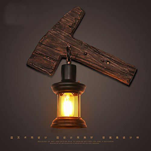 VC-alte schiffe, hölzerne lampen, personalisierte vintage, glas, holz, hammer, wall lamp, kreative industrie - restaurant, café,mauer - lampe (Batterie Betrieben Hammer)