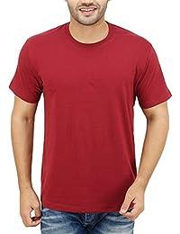 Neevov Men's Round Neck Cotton Maroon T-Shirt
