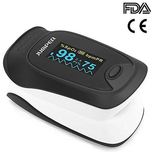 Jumper 500D Pulsoximeter Finger spO2 Pulsmesser OLED Pulsmessgerät zur Messung der Blutsauerstoffsättigung und Herzfrequenz mit Perfusion Index