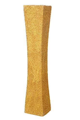 Limelight Home Decor Stone Wooden Flower Vase, 2 Feet, Gold
