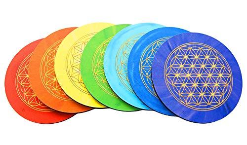 atalantes spirit Blume des Lebens Untersetzer - Set 7 Stück 7 Chakrenfarben, Größe 9,5cm, Motiv Lebensblume