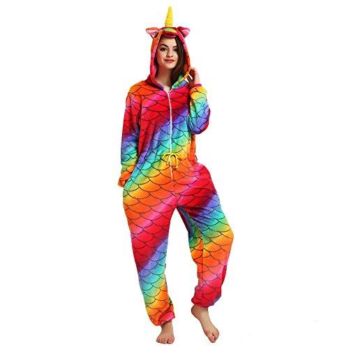 JYSPORT, pijamas de unicornio, forro polar, con capucha, pijama para niños, mujer, hombre, Mermaid, S: 151-158cm