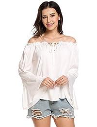Zeagoo Damen Schulterfreie Bluse Elegant Frühjahr Sommer T-Shirt Langarm  Oberteil in S- a82d65a97e