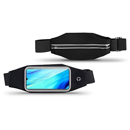 NAUC Bauchtasche Tasche Hüfttasche kompatibel mit Huawei P30 Pro Smartphone Gürteltasche Sport Waist Bag Handy Hülle Street Case Jogging, Farben:Schwarz