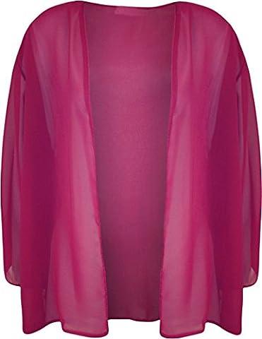Ladies 3/4 Sleeve Plus Size Chiffon Shrug Womens Open Kimono Cardigan Top-Cerise-XL/XXL