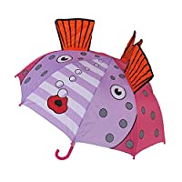 terferein Kids Cartoon Ear Double Use Automatic Rainbow Umbrella with 8 Ribs Outdoor Equipment for Kids Students