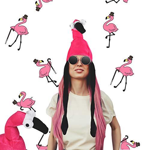 Relaxdays Flamingo Hut, Tiermütze, Flamingomütze, für Erwachsene, zum Fasching oder Junggesellenabschied, unisex, ()