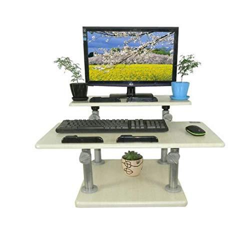 CTO Wandmontage-Stehkonverter Mit Monitor Höhenverstellbar Ergonomischer, Freistehender, Einfacher Einbau Weißer Eichen-Drop-Leaf-Tisch,A,Schreibtisch - Monitor Freistehende Arm