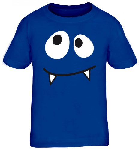 Kind Royal Kostüm Vampir - Shirtstreet24, MONSTER VAMPIRE, Fasching Karneval Kostüm Kids Kinder Fun T-Shirt Funshirt, Größe: 110/116,royal blau
