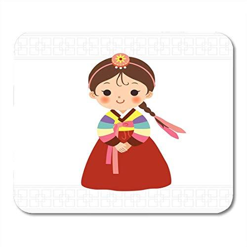 Luancrop Mauspads Kinderkarikatur-nettes kleines Mädchen in der koreanischen traditionellen Kostüm-Mausunterlage für Notizbücher, Tischrechnermatten Bürozubehöre (Traditionelle Kostüm)
