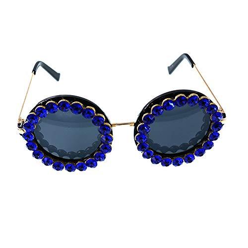 KOMEISHO Neue Designer - Sonnenbrille Dame Crystal Sonnenbrille Runde Form UV-Schutz für Das Fahren Reisen Sommer Strand glänzende Rosa (Farbe : Blau)