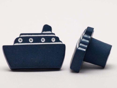 Möbelknopf Schrankknopf fürs Kinderzimmer Modell Blaues Schiff Breite 36mm (Einfach Modell Schiffe)