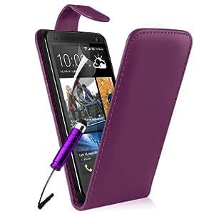 Supergets® Schlichte Einfarbige Hülle für HTC One M7 Handytasche in Lederoptik Etui Klappschale Flip Case, Mit Schutzfolie, Putztuch, mini-Eingabestift