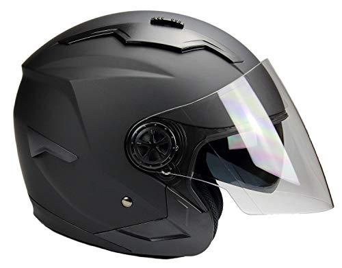 BNO Jethelm mit Langvisier Jet300 Motorradhelm Roller Helm Schutzhelm Matt Schwarz (S-XXL) (S)