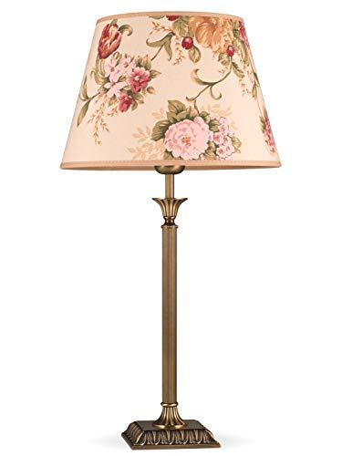 Helios Leuchten 403777/5 Vintage Lampe Leuchte | große klassische Jugendstil Tischleuchte Tischlampe | Retro Schreibtischlampe echt Messing antik | Lampenschirm geblümt | 1 x E27 -