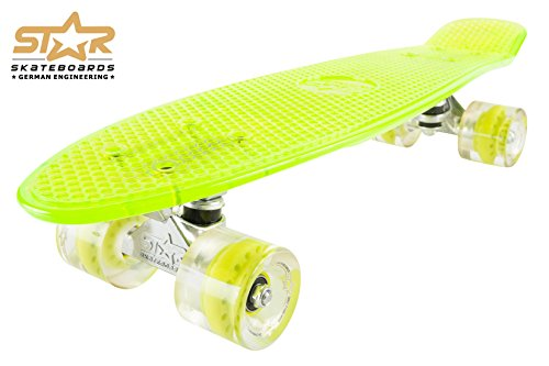 STAR-SKATEBOARDS® Vintage Cruiser Board ★ 22er Trendy Transparent Edition ★ Gecko Grün -