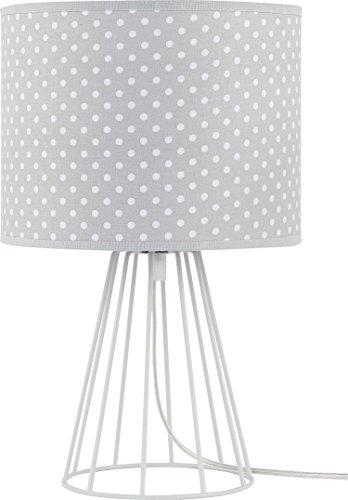 Tischleuchte Grau 32cm Stoffschirm Weiße Punkte Gemustert Lampengestell Metall E27 Nachttischlampe Beistellleuchte Tischlampe (Gemusterte Stoffschirm)