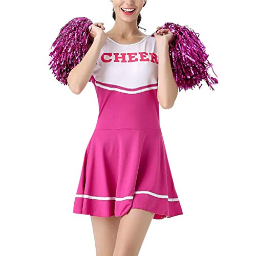 Daytwork Performance Tanzen Kostüm Mädchen - Damen High School Musical Cheerleading Uniform Sport Fancy Kleid Cheerleader Tanz Kleidung Party Bühne mit Pom Poms