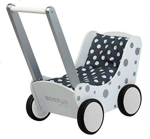 Toller weißer Puppenwagen mit silbernen Punkten inkl. Decke (grau m.weißen Punkten) / Lauflernwagen aus Holz / 60 x 32 x 55 cm / ab 3 Jahren
