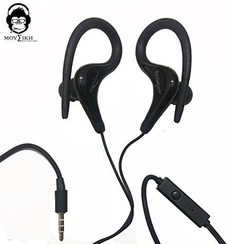Moyzikh Music Play Sports Earhook Earphones With Mic (Black)