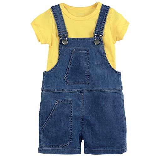 Kinder Kleidung Set 2er Pack Baby Kurzarm T-Shirt und Shortalls Baumwolle Tops Jeans Hosenträger Outfit Set 18-24 Monate Denim Shortall Set
