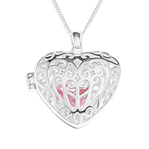 Ornami Silver Ladies' Filigree Heart Locket on 46cm Curb Chain with Removable Pink Cubic Zirconia Heart Inside