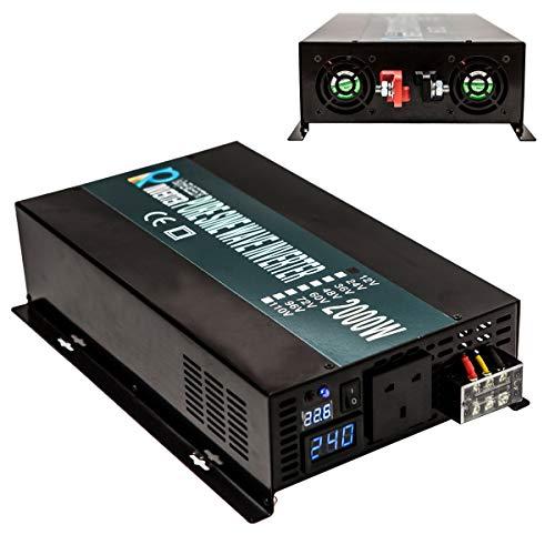 Zuverlässiger Off Grid 2000W 24V DC auf 230V AC Ausgang (UK Buchse) Pure Sine Wave Solar Wechselrichter Home Netzteil Off-grid-generator