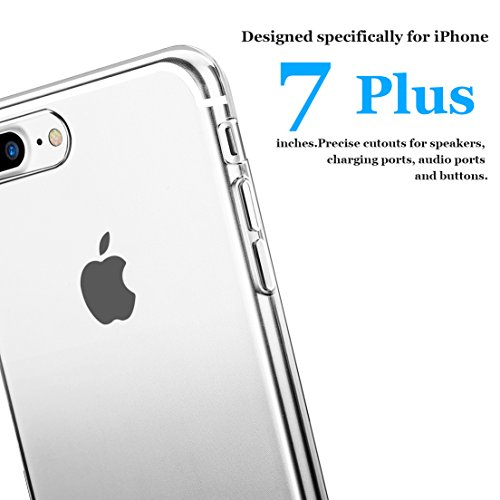 Bepack iPhone 7 Plus Hülle,Translucent Cover Gradient Flexible Soft TPU [Scratch-Resistant ] Durable Protective Shell Bumper Case for Apple iPhone 7 Plus 5.5 Inch Gradient Grey