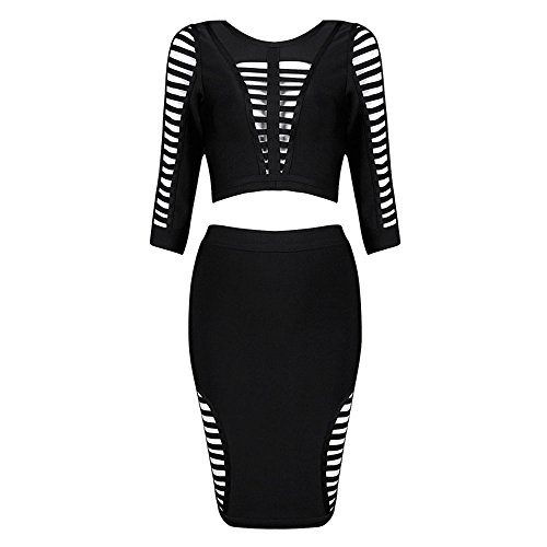 HLBandage 2 Piece Half Sleeve Hollow Out Women Rayon Bandage Dress Noir