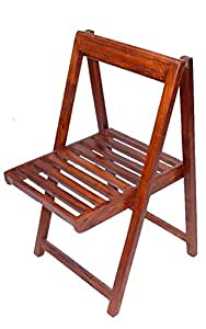 Folding Chair Teak Finished Modish Brown Color Solid Wooden Furniture