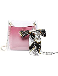 Fashion Jelly Tote Bag, Vuffuw Transparent Bucket Shoulder Bag with Chain Strap, Chic Clear Crossbody Bag with Ribbon for Young Girl and Women