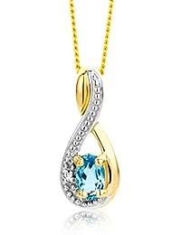 Miore - MT062N - Collier avec Pendentif Femme - Or jaune 375/1000 (9 carats) 1.92 gr - Topaze Bleue