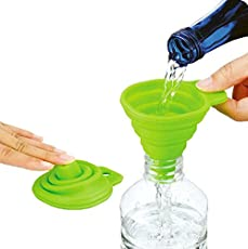 Collapsible and Easy to Store Silicone Funnel for Kitchen (Green)