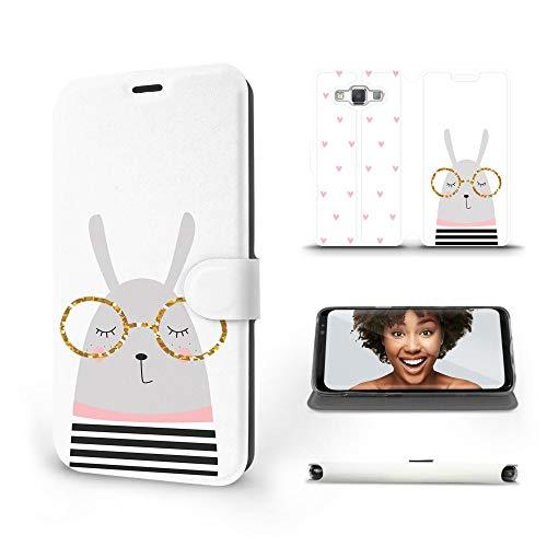 MOBIWEAR | Slim FLIP Case | Kompatibel mit Samsung Galaxy A5 2015, Made in EU handyhülle, Premium Schutzhülle, Transparent TPU Silicon, Book Style Hülle, Tasche - Kaninchen mit Brille