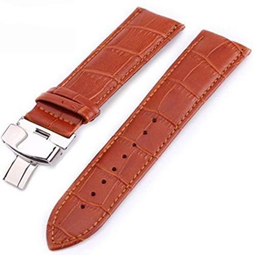 Uhrenarmband Uhrband aus Leder Butterfly Deployant Schnalle 12 14 16 18 19 Uhrenarmbänder Henziy-Uhrenarmbänder-Band10995 20mm 22mm 24mm polierte Armbanduhr Metall -