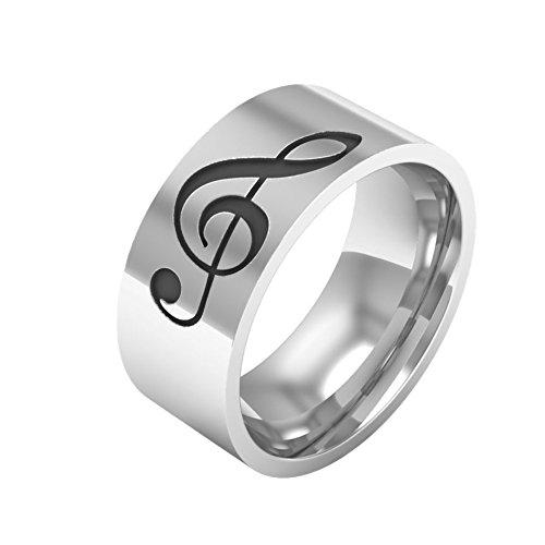 Fengteng Silber Farbe Breit 8mm Herrenring mit Gravur Schwarz Farbe Noten Ring Schmuck Damen Bass Notenschlüssel Fingerring Violinschlüssel Musik Schmuck Kreative Geschenk