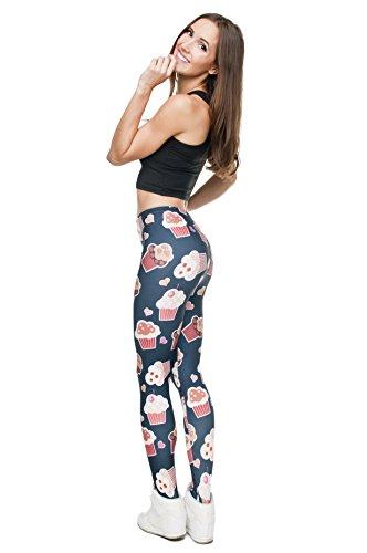 Leggings für Damen/Mädchen, mit 3D-Grafik, elastisch Mehrfarbig - Muffins