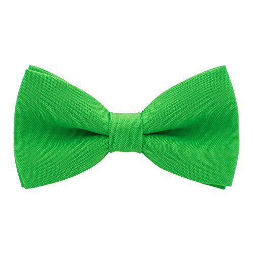 Bow Tie House Classic Pre-Tied Bow Tie Formal Solid Tuxedo, by (Medium, Green Shamrock) (Tie Green Bow)