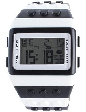 Orrorr shhors Neue SportDigital LED Binary Watch Lego Block Armband Schwarz Wei?