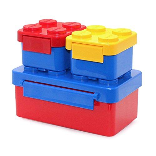 Stapelbar Kinder Brotdose Lunch Box Bento Box Lunch Boxen für Kinder, Children, Kids (3Pack-BigBlue-miniYellow-miniRed)