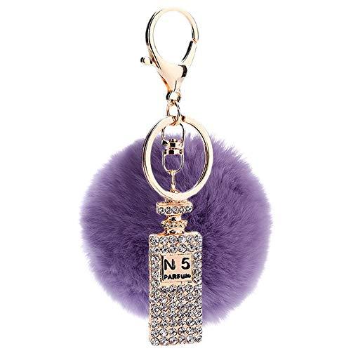 Herz-parfüm-flasche (Huayer Schlüsselanhänger Taschendekoration Strass Metall Parfüm Flasche Plüsch Ball Schlüsselanhänger Anhänger Plüsch Puppe Schlüsselanhänger Keychain (lila))