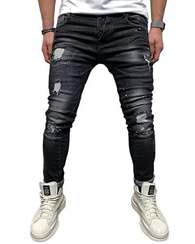 BMEIG Herren Skinny Jeans Destroyed Ripped Zerrissene Slim Fit Stretch Distressed Denim Basic Männer Jeanshose Designer Schwarz